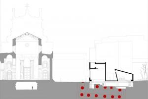 MEDAGLIA D'ORO: VINCENZO LATINA Padiglione di accesso agli scavi dell'Artemision di Siracusa, Siracusa, Italia, 2011 - sezione trasversale piazza Minerva